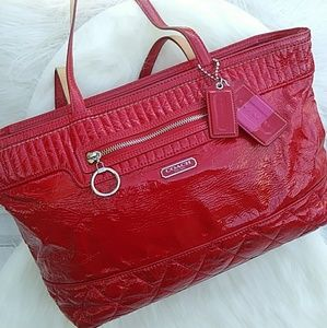 COACH Poppy Red Liquid Gloss Large Tote# 18674